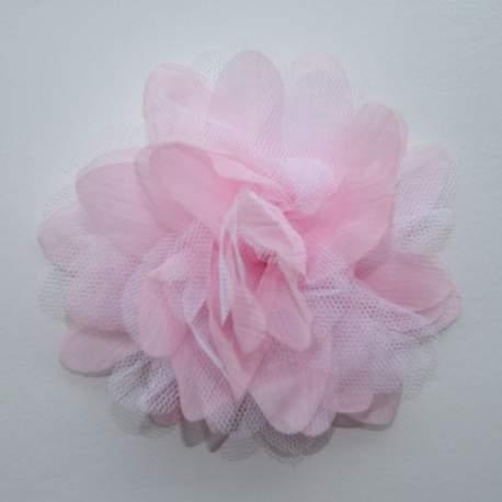 Bloem van tule en organza roze