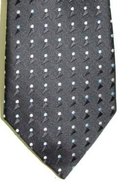 Kinderstropdas zwart met lichtblauwe en witte stip 27 cm.