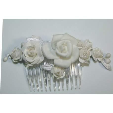 Haarkam met off-white bloemen