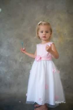 Meisjes feestjurk Luna roze met wit
