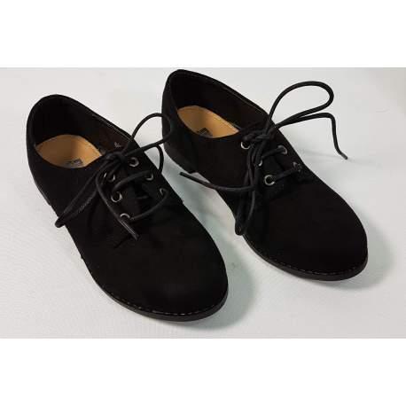 Zwarte suedelook jongensschoen met veter