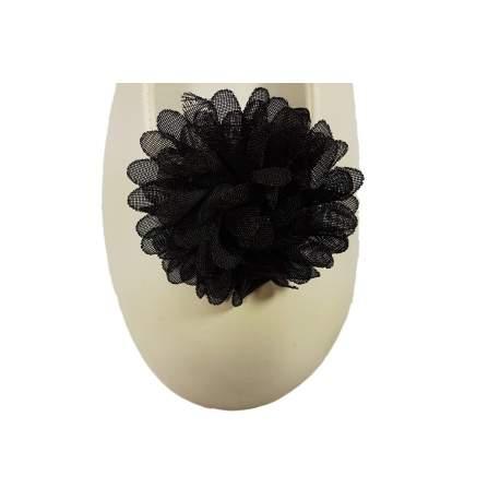 Schoen clip bloem zwart