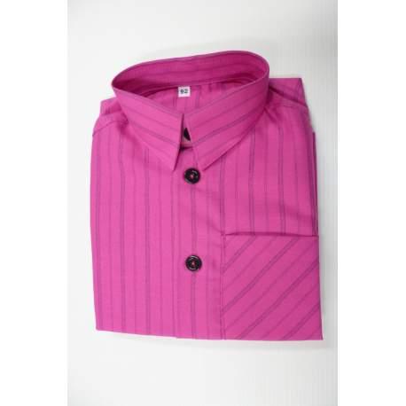 Jongens overhemd fuchsia streep