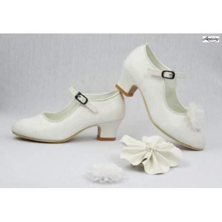Glitterschoen met hakje ivoor