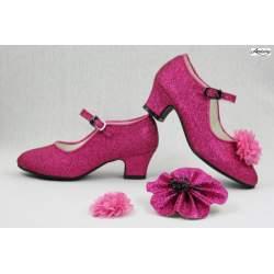 Glitterschoen met hakje Fuchsia Roze
