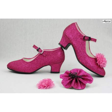 Glitterschoen met hak Fuchsia
