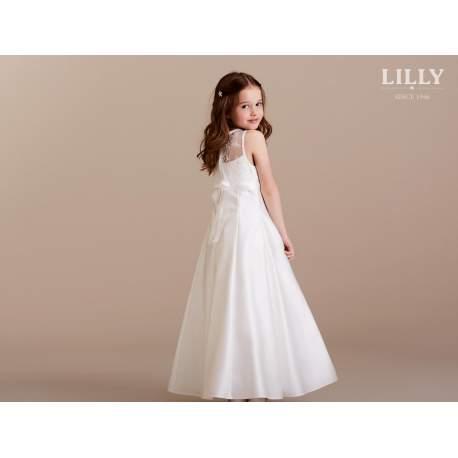 Lange jurk satijn met kant