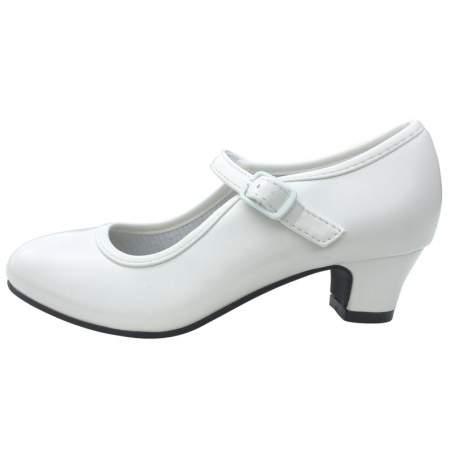 Gladde off-white schoen met hakje
