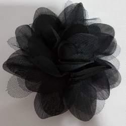 corsage, bloem van tule en taft, donkerblauw