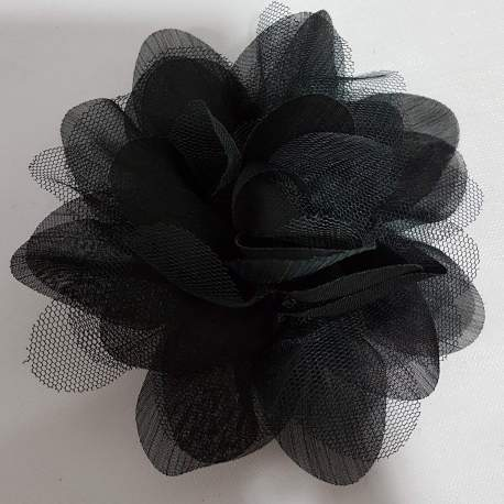 corsage, bloem van tule en taft, zwart