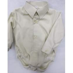 Baby overhemd romper lichtbeige katoen