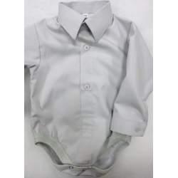 Baby overhemd romper lichtgrijs katoen
