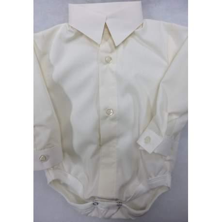 Baby overhemd romper ivoor