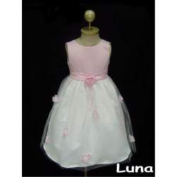 Feestjurk Luna roze met wit