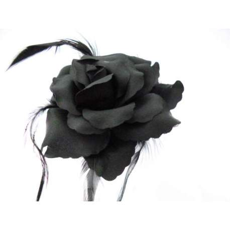 Corsage, grote bloem zwart 12,5 cm. 1778