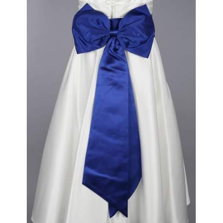 Satijnen band met strik kobalt blauw