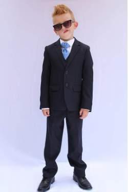 Jongens kostuum N&J effen donkerblauw
