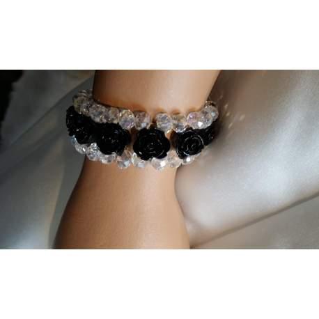 Armband met roosjes en kralen zwart