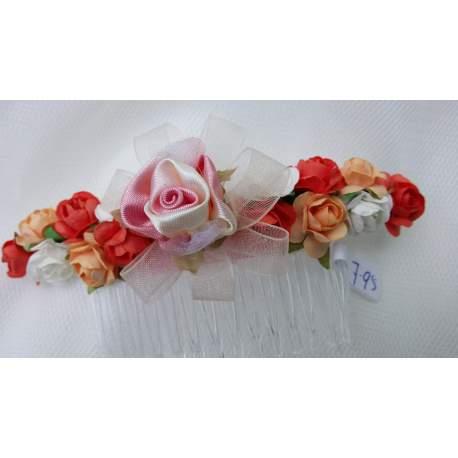 Haarkam met koraal-, ivoorkleurig en zalmroze bloemen