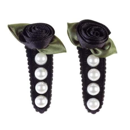 Klik klak met roosje en parels 2 stuks Annemarie