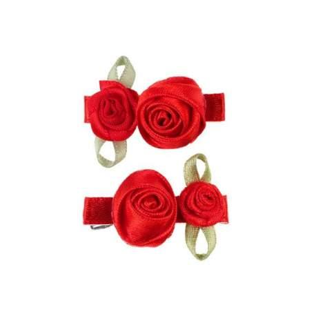 Rode roosjes op kroko clip 2 stuks Tirza