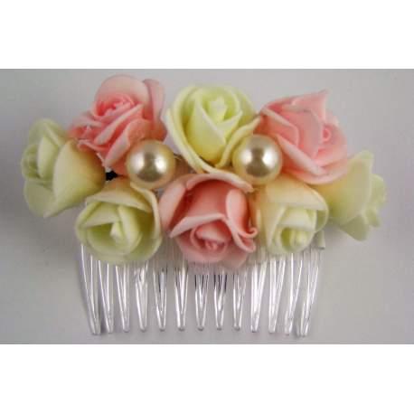Kam met bloemen ivoor en roze bu13