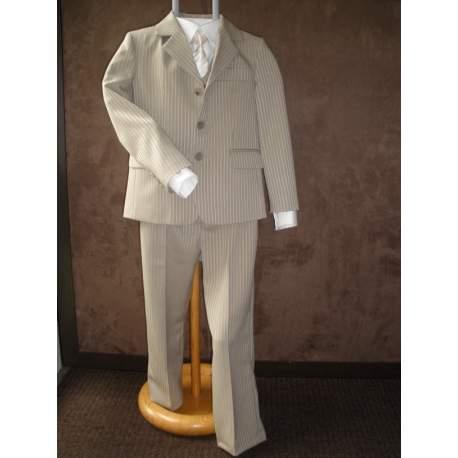 Jongens kostuum N&J leverkleurig met glanzend streepje