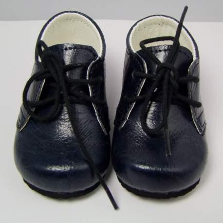 Glad jongensschoentje met veter donkerblauw