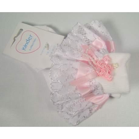 Babysokjes met kant wit met roze