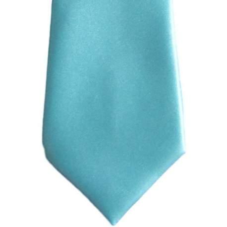 Satijnen kinderstropdas turquoise 32 cm.