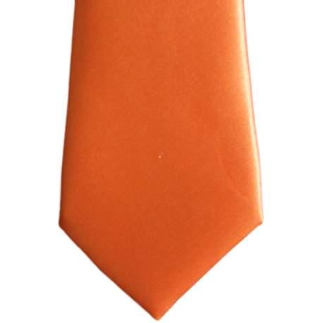 Satijnen kinderstropdas oranje 27 cm.