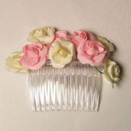 Haarkam met ivoor en roze roosjes