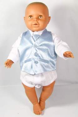 Baby gilet l.blauw met dasje